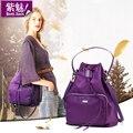 2016 nueva inglaterra estilo secuencia del drenaje cubo bolso Bensjiaos Bolso de marca mujeres bolso de hombro de la señora del cordón púrpura bolsas de nylon