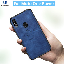 For Moto One Power Original PINWUYO VINTAGE PU Leather Protective Phone Case for Motorola Moto P30 Note Shockproof Case nillkin star series protective pu leather case for moto g2 champagne gold