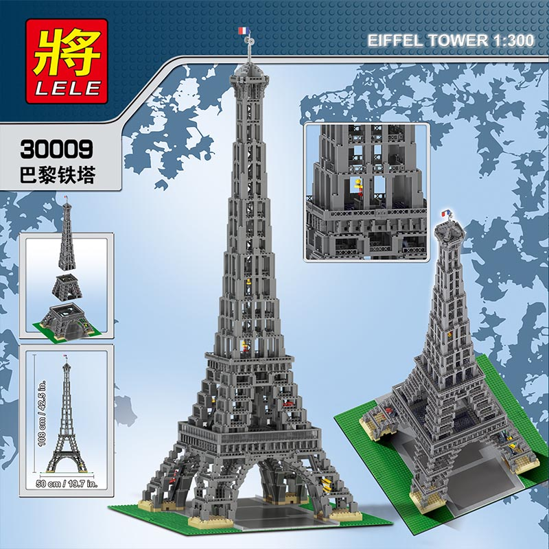 New LELE 30009 3428Pcs The Eiffel Tower Model Building Kits Mini blocks Blocks Bricks Compatible Leegos technic toys for Child