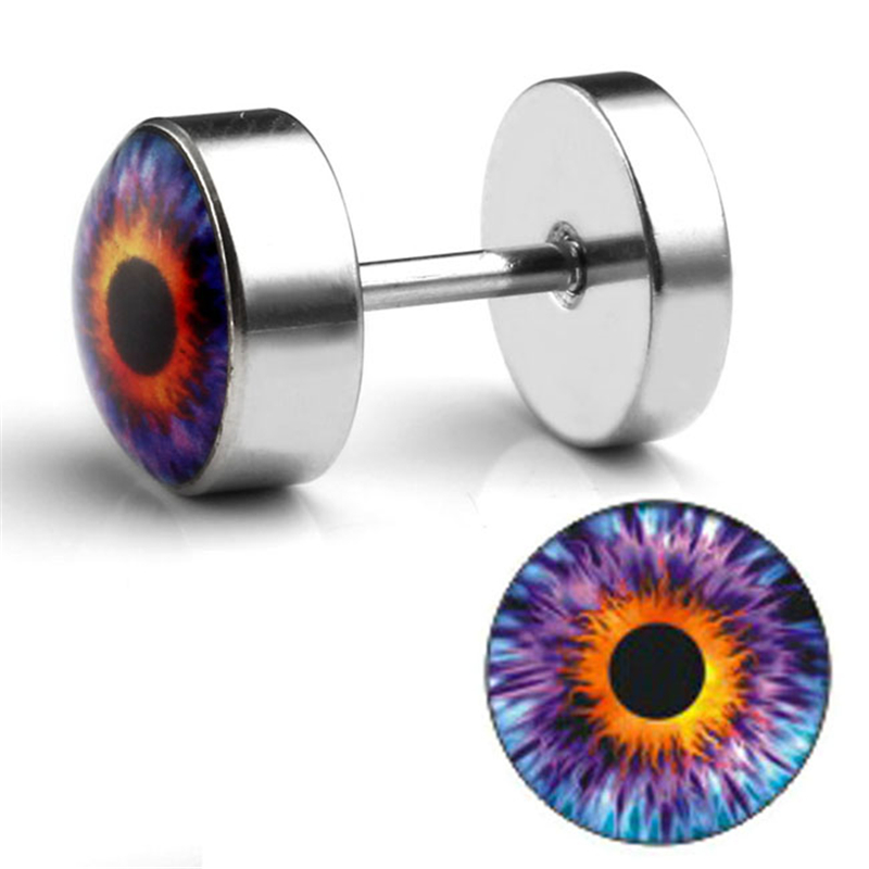 Pair Stainless Steel Eyeball Fake Cheater Illusion Ear Stud Earring Flesh Plug
