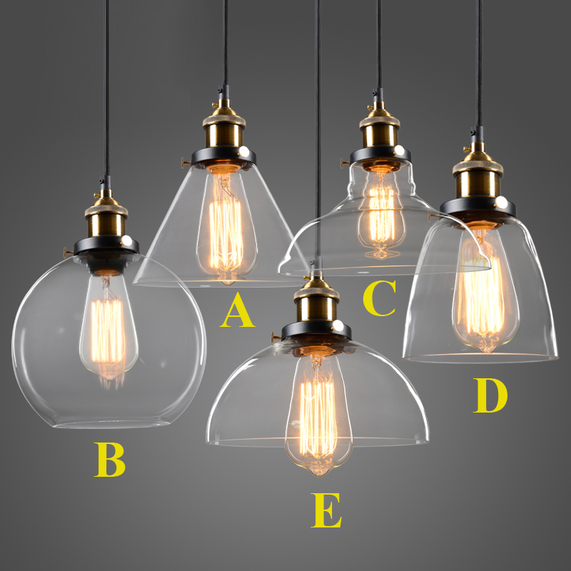Modern Glass Pendant Lights Industrial Edison Pendant Lamp