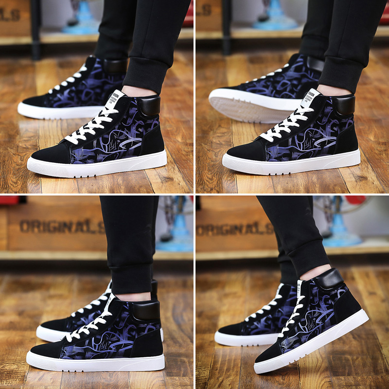 2018 Fashion High Top Men Shoes Canvas Casual Shoes for Autumn Winter Male Footwear Patchwork Causal Street Party Fashion Shoes