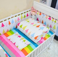 July Promotions 5Pcs Sets Minimalist Style Cotton Printed Baby Bumper Crib Comfort No Stimulatione Baby Bedding