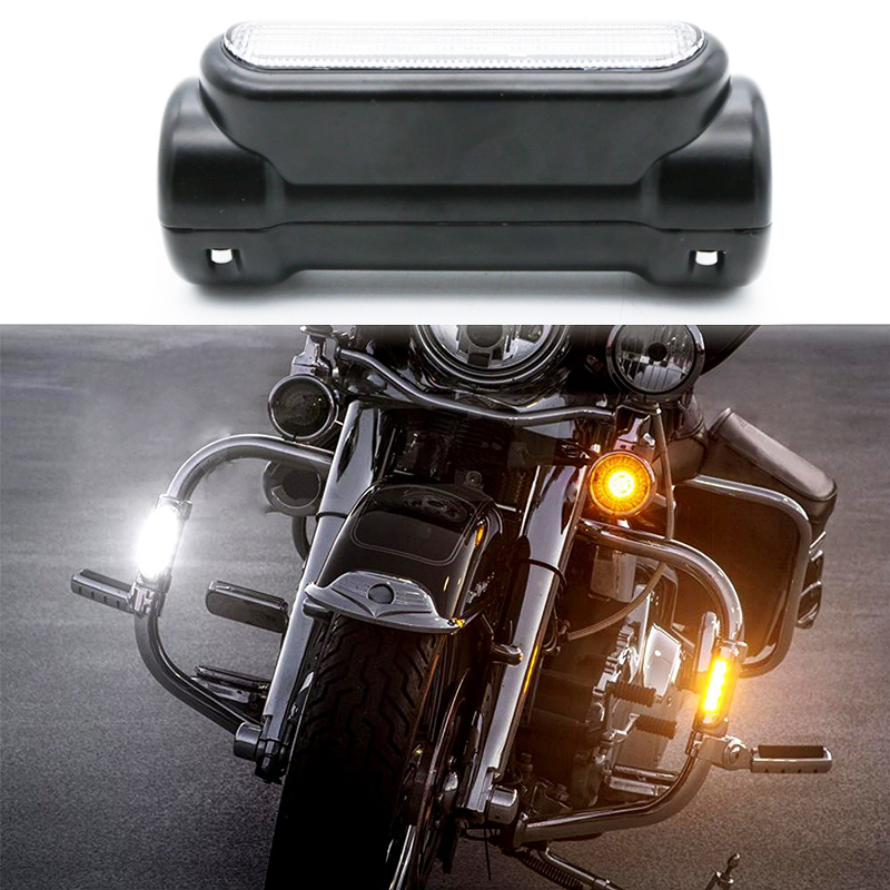For Victory Harley Road King Street Glide Softail Fat Boy Motorcycle Highway Bar Switchback Turn Signal Light White Amber LED motorcycle cnc derby timer cover for street bob switchback softail heritage fat boy deluxe blackline night train road glide