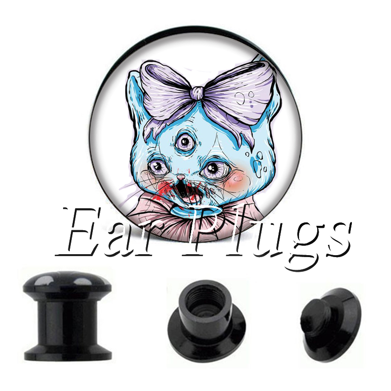 Wholesale Bow-Knot Cat plug gauges acrylic screw ear plug flesh tunnel piercing body jewelry