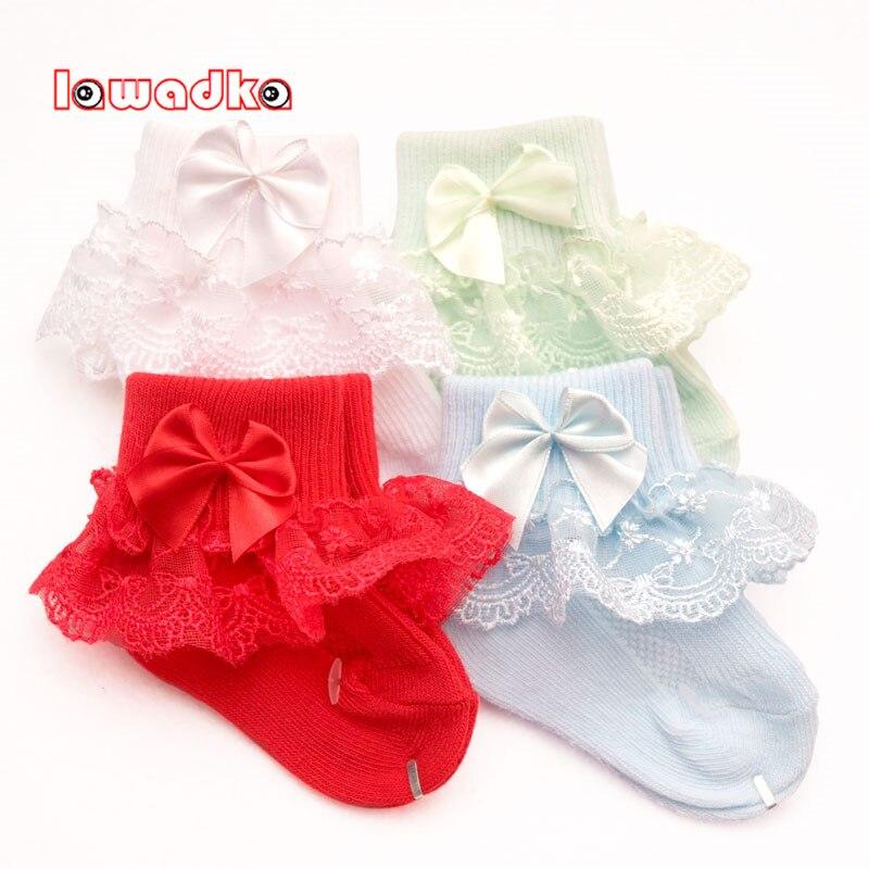 Lawadka 4Pairs/lot Solid Bow Lace Baby Socks Newborn Cotton Warm Baby Girls Sock Cute Toddler Socks Size SandM