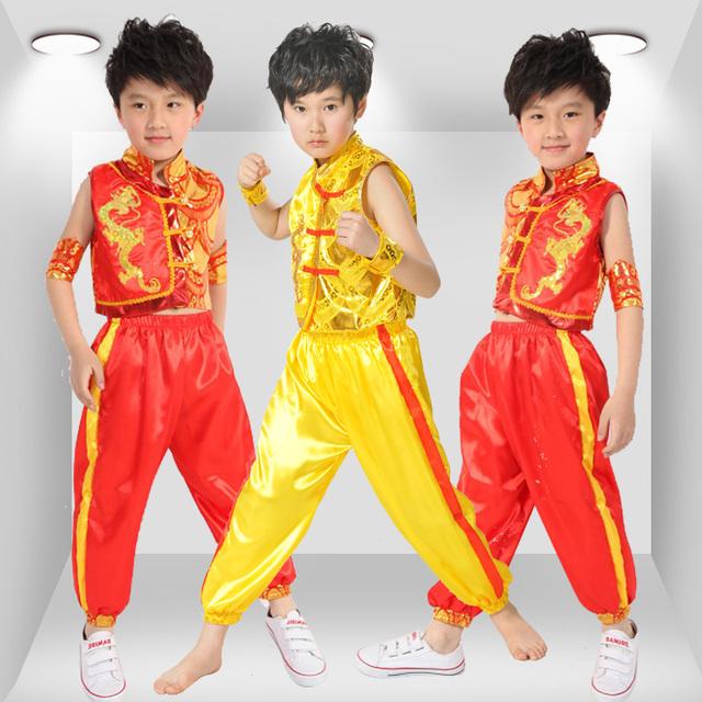 Trajes das crianças do sexo masculino dragão Chinês de dança roupas desempenho das crianças das crianças dança roupas roupas de artes marciais