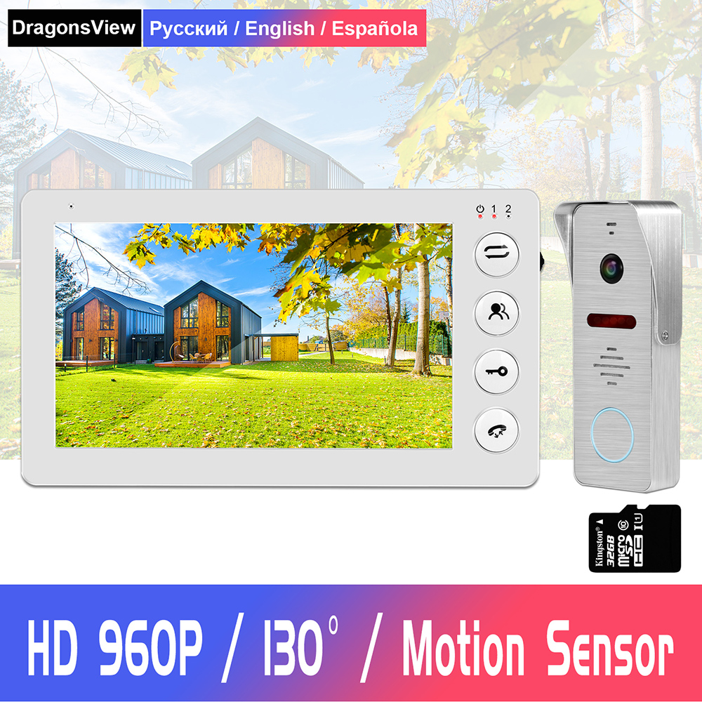 960P HD Video Door phone Intercom for Home intercom system Support Motion Detect Record 32GB SD Card  Wired 7inch video Doorbell-in Video Intercom from Security & Protection