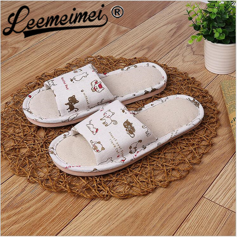 Women Floral Home Slippers Cartoon Flower Home Shoes Non-slip Soft Hemp Slippers Indoor Bedroom Loves Couple Floor Shoes women floral home slippers cartoon flower home shoes non slip soft hemp slippers indoor bedroom loves couple floor shoes