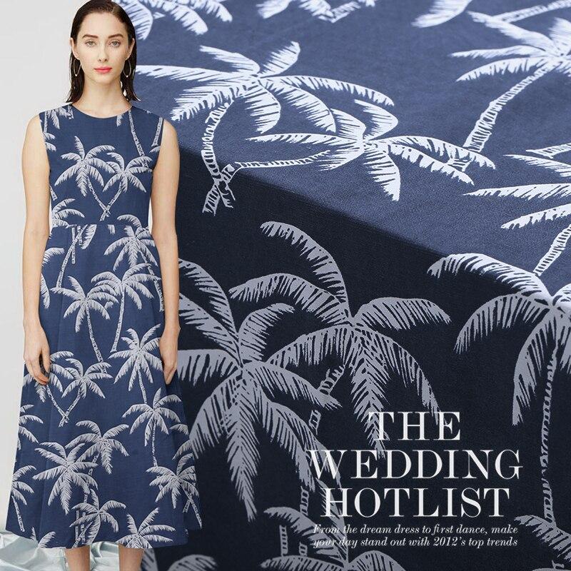 Xiawei Style 35m Heavy-pound, Silk Textile Silk Fashion Coconut Tree Blue Printed Fabric