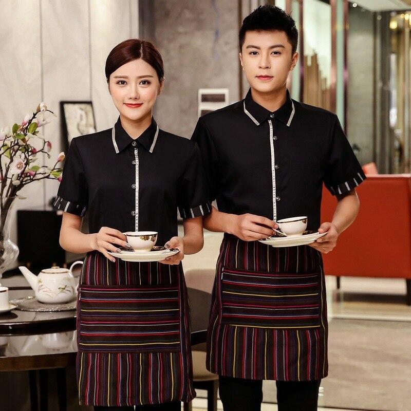 Hotel Work Clothes Women's Waitress Short Sleeves Summer Uniform Chinese Restaurant Catering Hot Pot Shop Waiter Overalls H2219