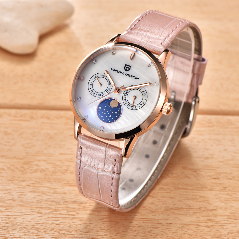Pagani Design New Ladies Fashion Quartz Watch Women Leather Casual Dress Women's Watch Rose Gold Crystal montre femme ladies fashion watch pagani design luxury brand temperament women quartz watch all steel casual romantic watch montre femme