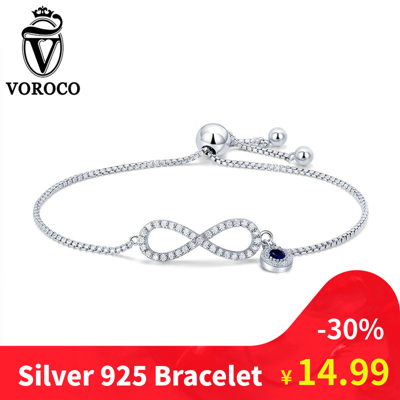 Voroco Actual 925 Sterling Silver Chain Hyperlink Infinity Bracelets & Bangles Femme Ladies Bracelet Charms Jewellery Equipment Bkb087