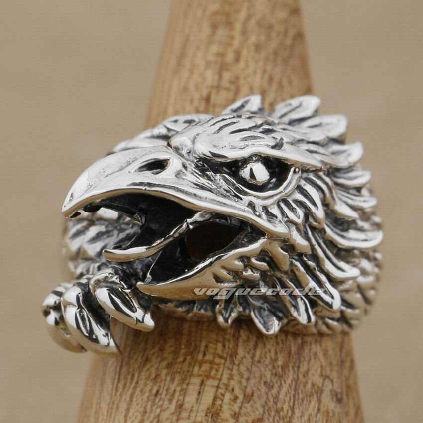 Solid 925 Sterling Silver Huge Heavy Eagle Mens Biker Ring 9M006 US Size 8 to 14 solid 925 sterling silver huge