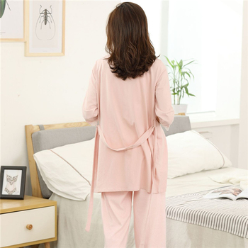 New pregnant women solid color round neck thin long-sleeved pajamas cotton home service suit breastfeeding maternity clothes