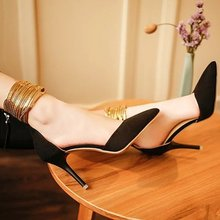 Free shipping empty word side with pointed heels fine with metallic colors bring sexy temperament Asakuchi shoes dress shoes