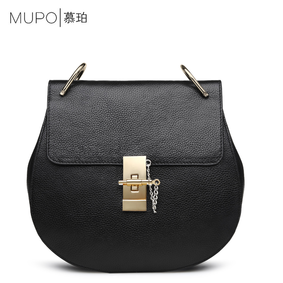 Famous Brand Design Barrel-shaped Telescopic Chain Cow Genuine Leather Shoulder Bag for Ladies Lock Hasp Handbag Bags for Women