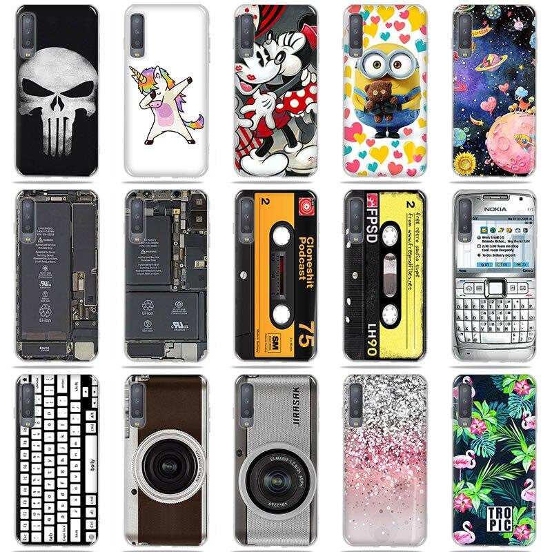 For Samsung Galaxy A7 2018 A750F Case Cover Soft Silicone Cartoon Painting TPU Case For Samsung A7 2018 A750 A 7 2018 Fundas Bag