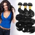Evet brasileño extensiones de cabello humano 3 unids onda brasileña virginal del cuerpo Weavings cabello 1B negro onda del cuerpo del pelo humano 100 g/pcs