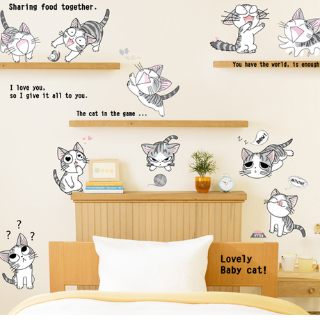 Cheap cute cartoon cat baby room wall stickers kids room - Cheap wall decals for living room ...
