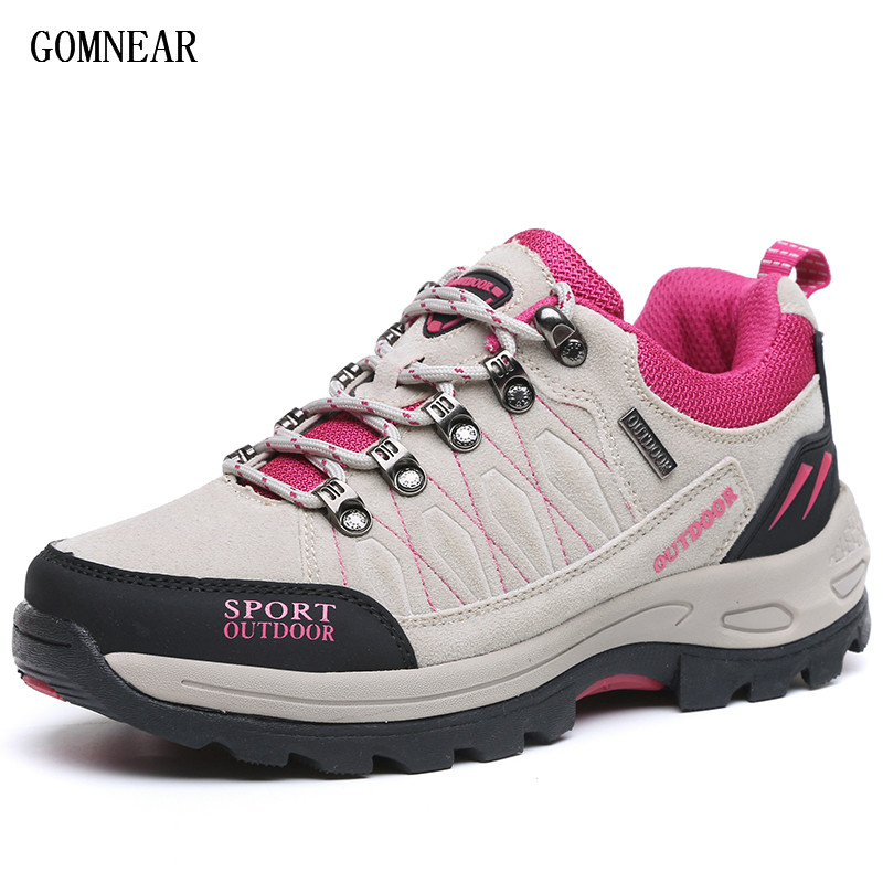 GOMNEAR Women's Hiking Shoes Outdoor Antiskid Breathable Trekking Hunting Shoes Female Tourism Jogging Mountain Sports Sneakers цена