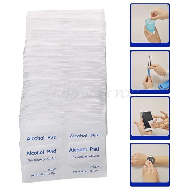 100Pcs/Box Alcohol Wipe Pad Medical Swab Sachet Antibacterial Tool Cleanser 1