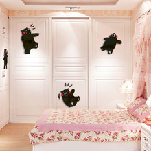 Cartoon bear Stupid Childrens room acrylic 3d wall sticker Bedroom wardrobe Living sofa background stickers