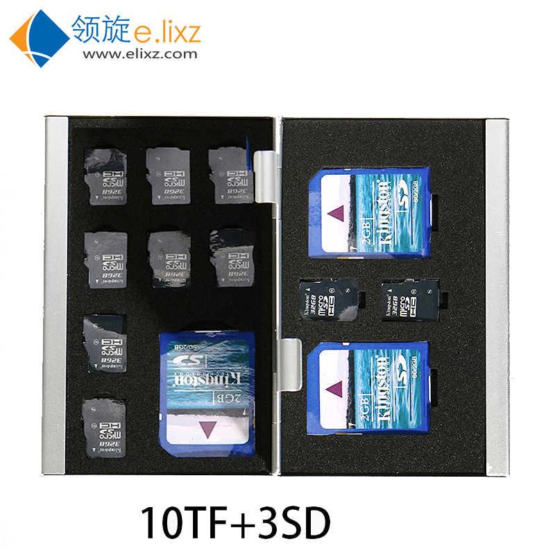 2017 argent rouge bleu en 1 boîte de rangement en aluminium sac étuis de carte mémoire porte-monnaie grande capacité pour 2 * Cf 3 * sd 10 * mirco pour Sd