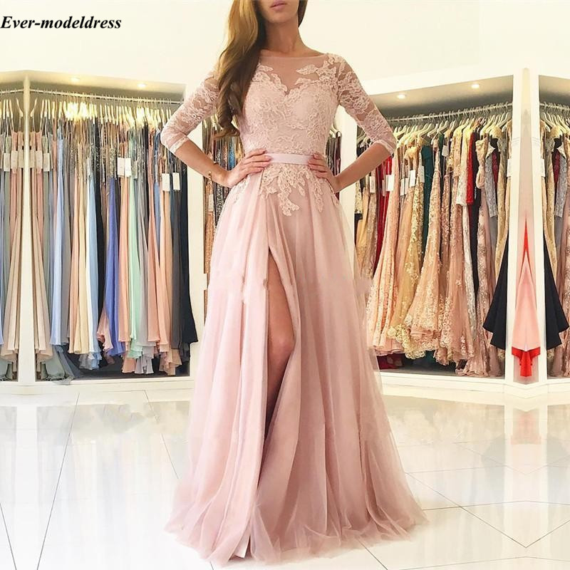 Image 2 - Blush Pink Bridesmaid Dresses 2019 Sexy A Line High Split Backless Lace Long Sleeve Floor Length Wedding Guest Prom Party Dress-in Bridesmaid Dresses from Weddings & Events