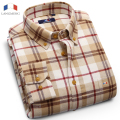 Langmeng 2016 New Autumn Winter Men Casual Plaid Shirts Slim Fit Long Sleeve 100% Cotton Soft Comfort Brand Mens Flannel Shirts