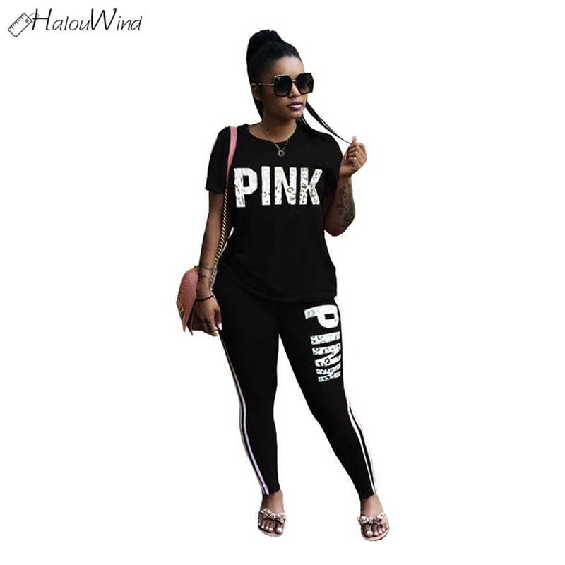 Plus Size Women Streetwear Tracksuits Letter Print T Shirt + Shinny Elastic Pants Suits Outfits Clothing Set Casual Fitness Pink
