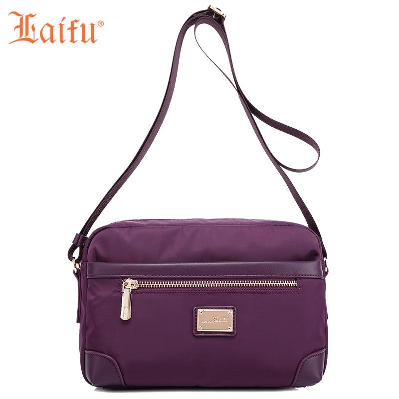 Laifu 2017 Autumn Designer Women Nylon Shoulder Bag Fashion Female Crossbody Bag Teenage Girls Messenger Sling Bag Black