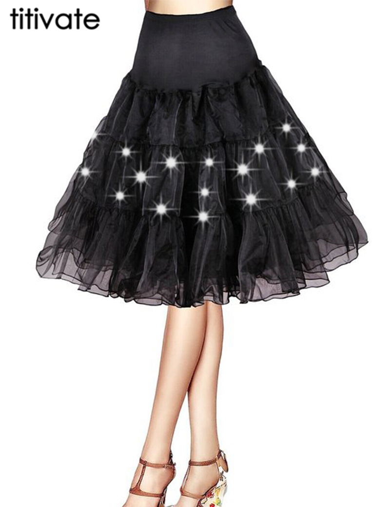 TITIVATE New Fashion Charming Design Gown Skirt LED For Women Performance Lights Dancewear Tulle Ball Ballet Colorful Skirt