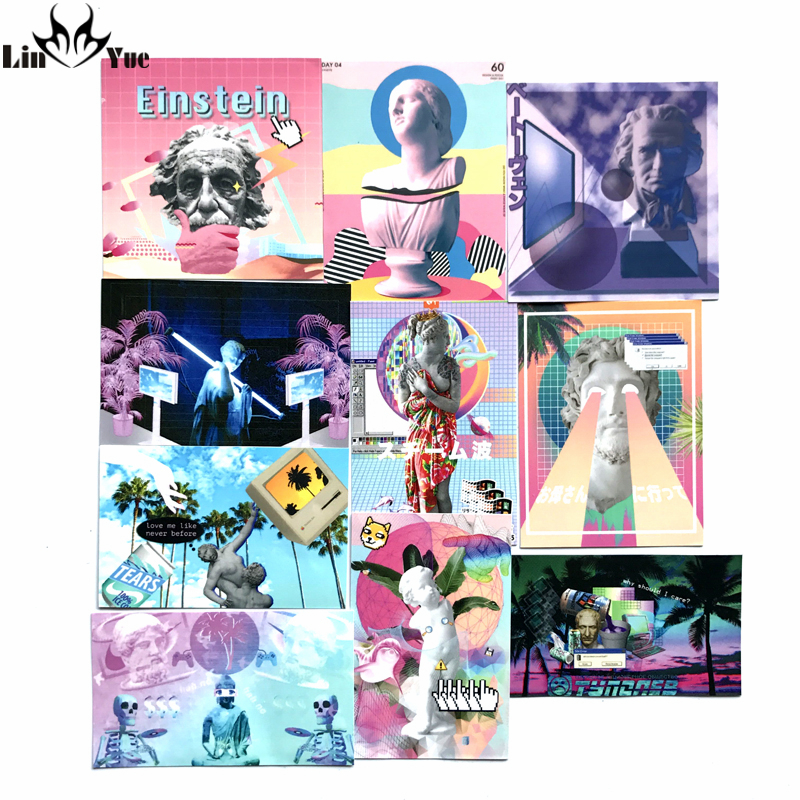 10pcs/lot Vaporwave style stickers Einstein Newton skateboard decal <font><b>Notebook</b></font> trolley case backpack <font><b>Table</b></font> PVC DIY <font><b>car</b></font> sticker image
