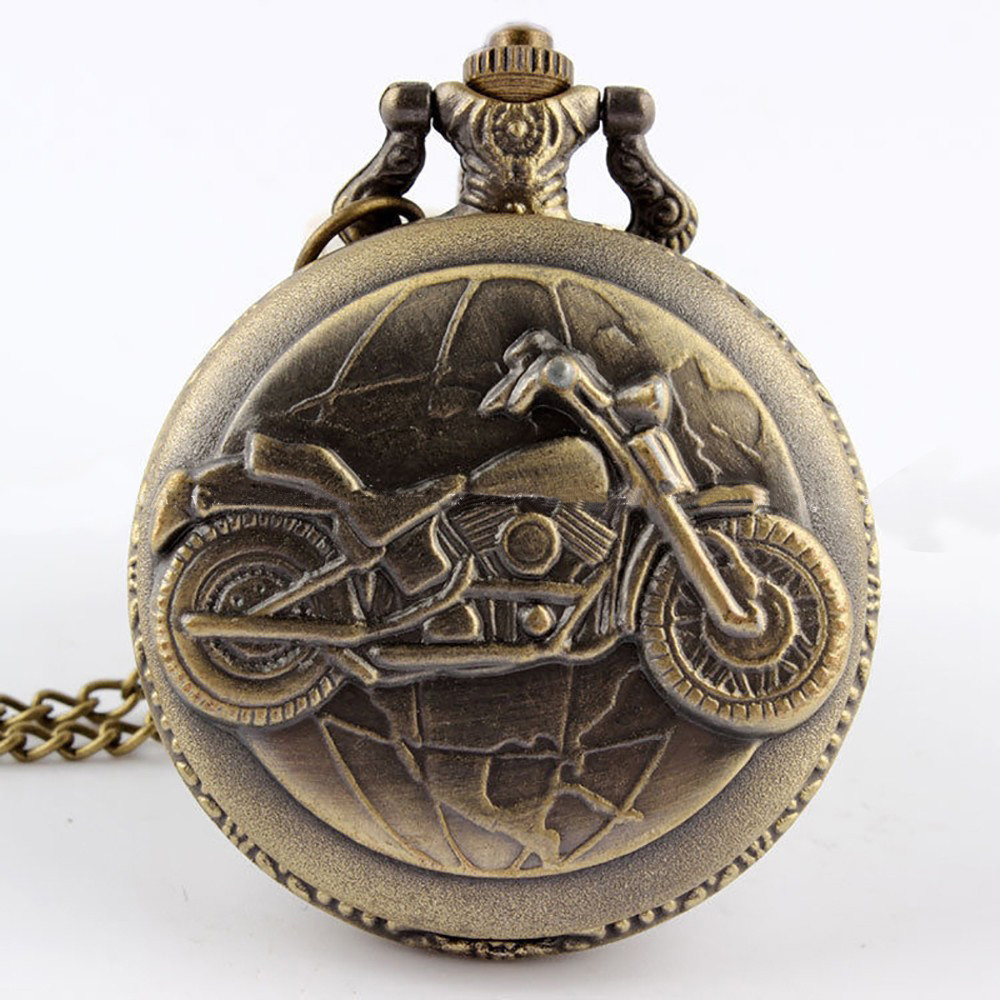 Cool locomotive retro trend pocket watch carved motorcycle pattern quartz personalized gift