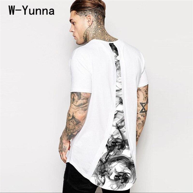 W-Yunna 2018 New Summer Mens Tshirts Longer Back O-neck Short Sleeves Mens T-shirt 3d Print Harajuku Loose Leisure White Tees ...