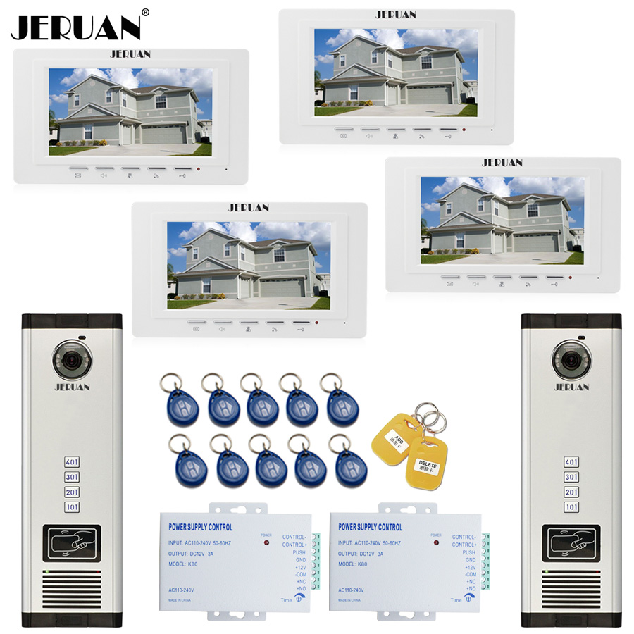 JERUAN 7 Inch LCD Video Door Phone Intercom system RFID Access Entry Security Kit For 2 Apartment Camera(4 button) to 4 monitor jeruan apartment 4 3 video door phone intercom system kit 2 monitor hd camera rfid entry access control 2 remote control