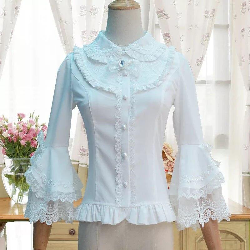 Vintage blanc dentelle coton Blouse pour dames classique Lolita princesse Costume Slim ajusté chemise bouton 3/4 cloche couche manches haut