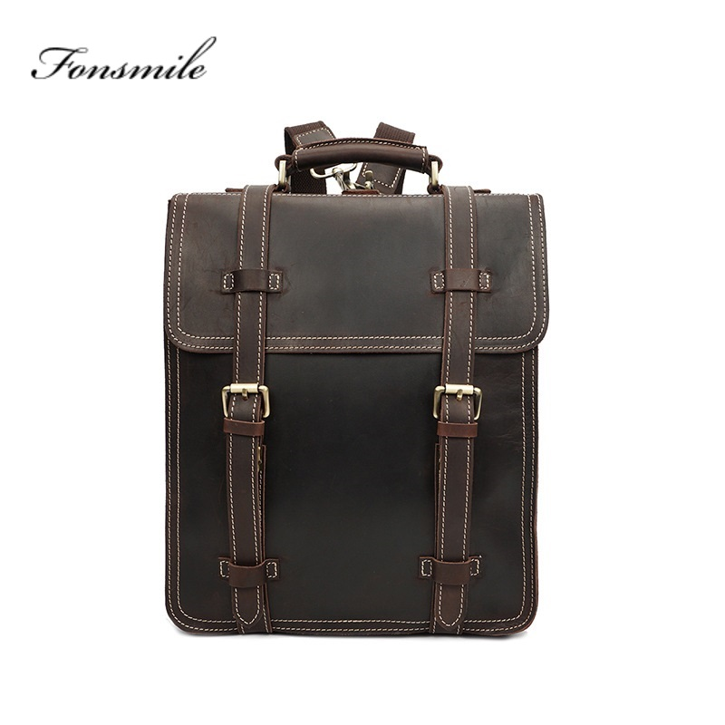 T004 Men Genuine Leather Backpack 14 Laptop Bag Crazy Horse Leather Business Tote Bag 2 Use Cow Leather Rucksack Bag WeekendT004 Men Genuine Leather Backpack 14 Laptop Bag Crazy Horse Leather Business Tote Bag 2 Use Cow Leather Rucksack Bag Weekend
