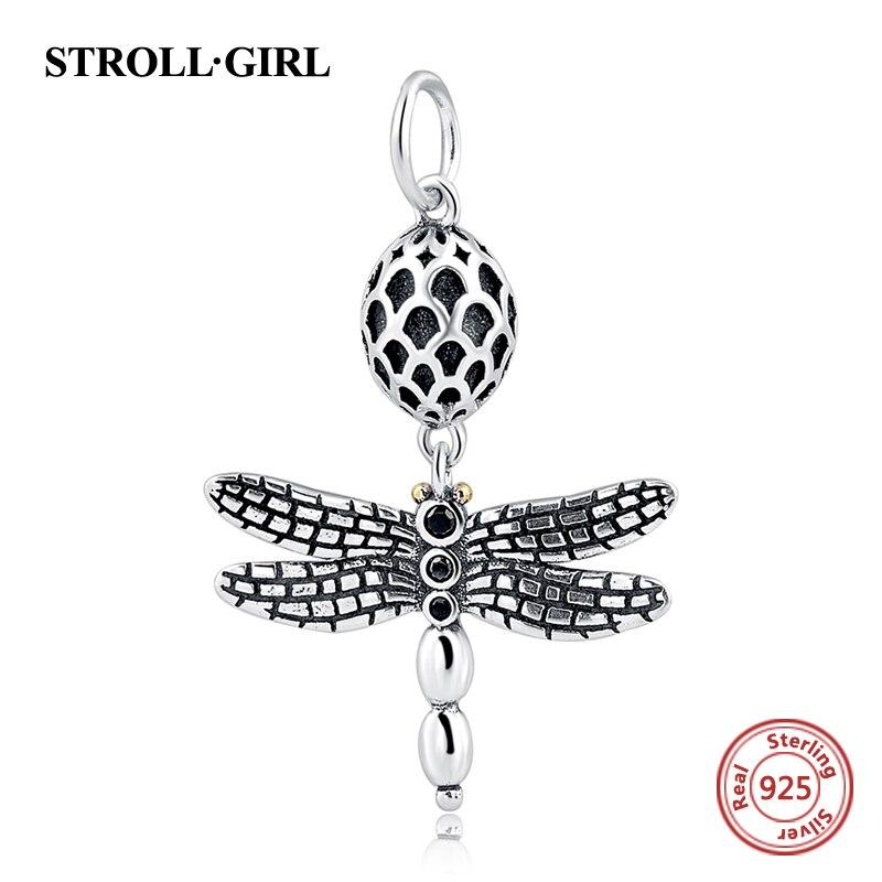 100% 925 Sterling Silver Animale Libellula di fascino Misura Branelli Originale Pandora Bracelet Berloques Autentico pendente Regalo Gioielli FAI DA TE
