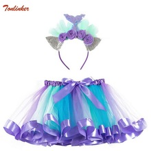 Girls Unicorn Pony Rainbow Tutu Skirts Mermaid Costumes With Hair hoop for Kids Birthday Theme Party Cosplay