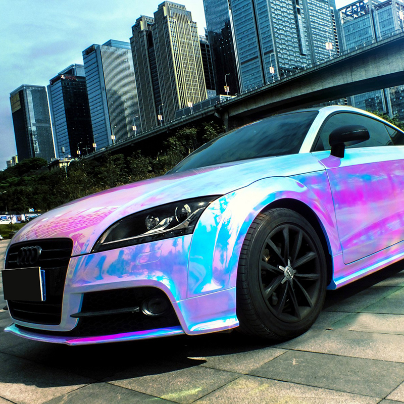 1.42*20M Air free bubbles Rainbow Laser Chrome Vinyl car body film car body sticker  Purple-Blue LCF10 5sheets pack 10cm x 5cm holographic adhesive film fly tying laser rainbow materials sticker film flash tape for fly lure fishing