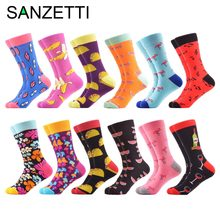 862dd0f1fa2b8 SANZETTI 12 pairs/lot Newest Colorful Crew Casual Dress Wedding Socks Funny  Men's Combed Cotton Crazy Skateboard Socks For Gifts