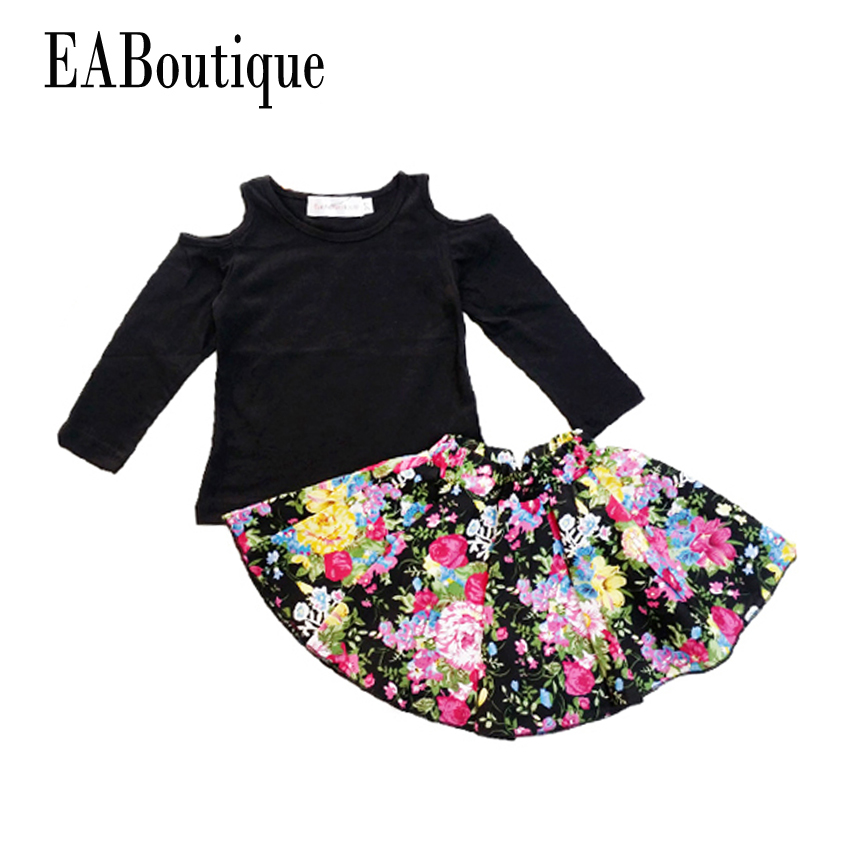 Eaboutique baby girls clothes set 2015 winter girls clothing sets fashion girls floral skirt set Mla winter style fashion set