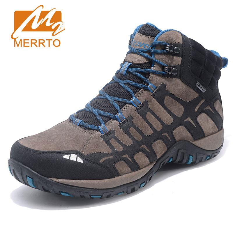 MERRTO Men Outdoor Sports Boots Non Slip Camping Shoes High Quality Breathable Genuine Leather Hiking Boots Shock Hunting Shoes mulinsen brand new autumn men sports hiking genuine leather shoes sport shoes wear non slip outdoor sneaker 270116
