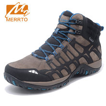 MERRTO Men Outdoor Sports Boots Non Slip Camping Shoes High Quality Breathable Genuine Leather Hiking Boots Shock Hunting Shoes