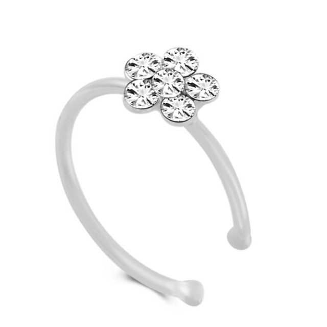 Stainless Steel Gold Color flower Nose Open Hoop Ring Earring Body Piercing Crystal Nose Studs Women Studs 925 Fashion Jewelry