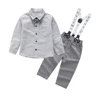 Fashion Baby Boys Grid Print Tops Pants Outfits Clothes Set Cotton Full O Neck Regular Baby