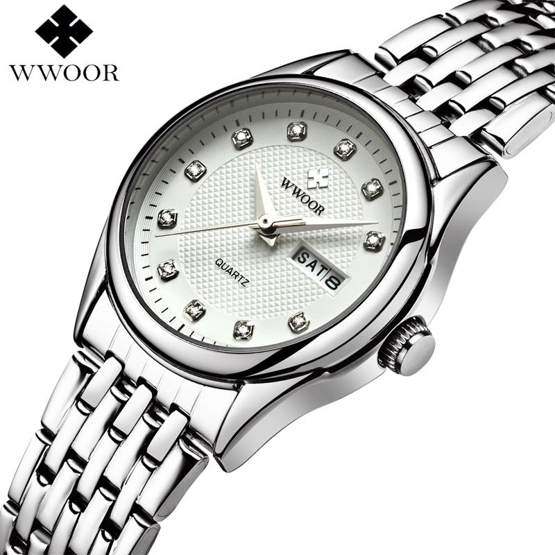 купить Luxury Brand WWOOR Women Waterproof Quartz Watch Ladies Analog Date Clock Female Silver Stainless Steel Watches Women Wristwatch по цене 1034.32 рублей