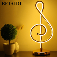 BEIAIDI Novelty Minimalist Art Lines Table Lamp Musical Note Bedroom Bedside Table Desk Light Dimmable Home Decoration Light